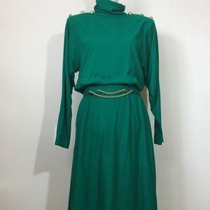 Jessica Howard Emerald green Vintage dress